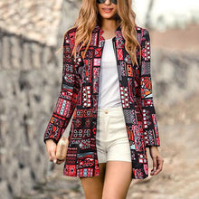 Load image into Gallery viewer, Retro Fashion Slim Print Long Sleeve Suit Cardigan