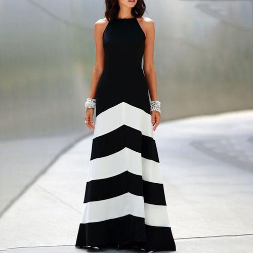 Backless  Color Block Wave Stripe  Sleeveless Evening Dresses