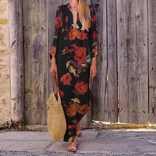 European And American Retro Printing V Collar Long-Sleeved Loose Dress