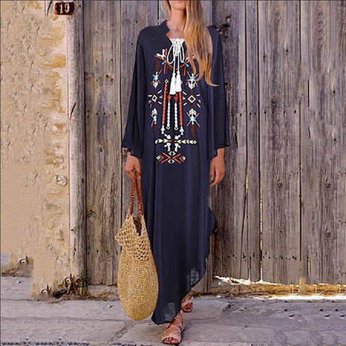 National Style Thin Embroidered Cotton And Linen Dress