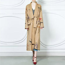 Load image into Gallery viewer, Fashion Floral Printed Long Casual Coat Loose Belted Outwear
