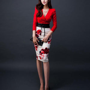 Two Piece Red V-Neck Top With Floral Bodycon Skirts