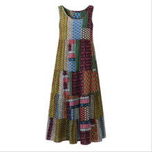Load image into Gallery viewer, Bohemian Splicing Round Neck Sleeveless Dress