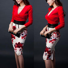 Load image into Gallery viewer, Two Piece Red V-Neck Top With Floral Bodycon Skirts