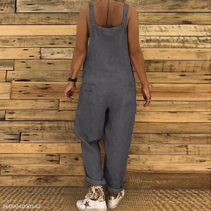Loose Casual Linen Cotton One-Piece Bib