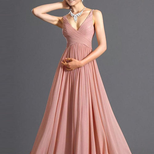 Elegant V-Neck Chiffon Wedding Party Dress