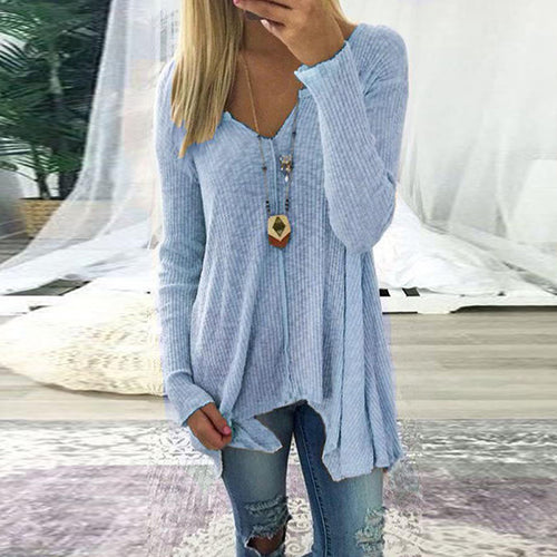 V Neck  Asymmetric Hem T-Shirts