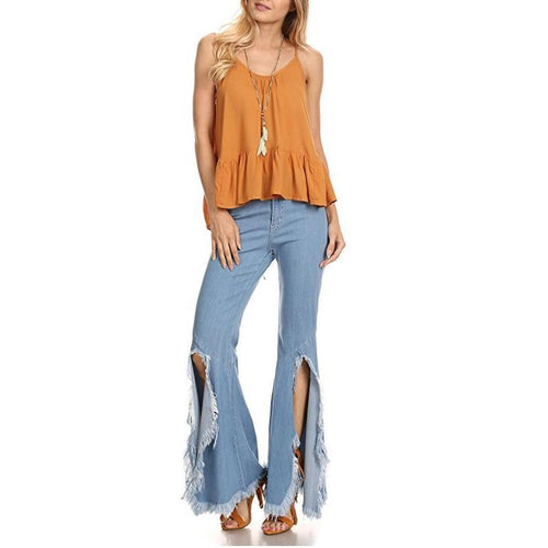 2018 Fashion Tassel Denim Ripped Jeans