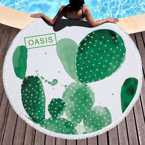 2018 Cactus Printed Tassel Beach Towel