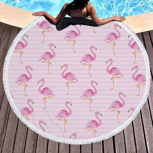 2018 Flamingo Printed Tassel Beach Towel