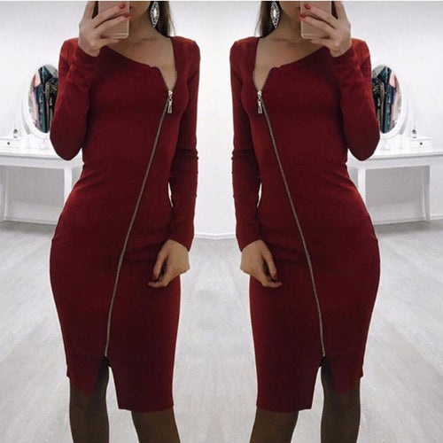 2018 Fashion Zipper Bodycon Dress