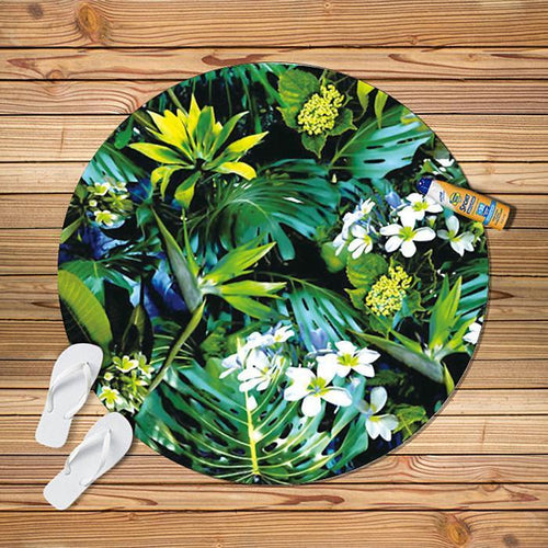 2018 Fashion Circle Leaf Printed Beach Towel