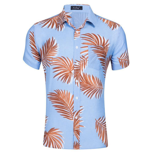 100% Cotton Blue Palm Shirt