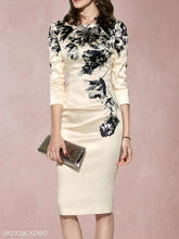 Load image into Gallery viewer, Round Neck  Floral Bodycon Dress