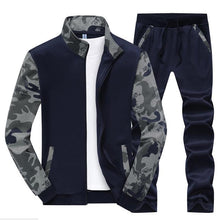 Load image into Gallery viewer, Men Stand Collar Camouflage Sport Suits