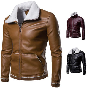 Fashion Cool Leather Lamb Woolen Thicken Coat