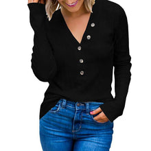 Load image into Gallery viewer, Sexy V Collar Plain Button Slim Knit Shirt