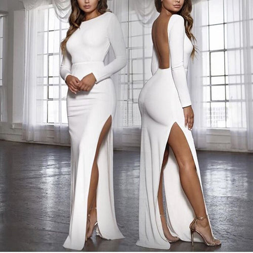 Sexy Open Back   Split Long Sleeve And Ground Dress