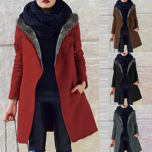 Large-Size Loose Long-Sleeve Hooded Plush Outwear