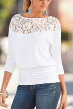 Load image into Gallery viewer, Round Neck  Patchwork Plain  Batwing Sleeve T-Shirt