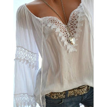 Load image into Gallery viewer, Autumn Spring  Cotton  Women  Tie Collar  Decorative Lace  Hollow Out Plain  Long Sleeve Blouses