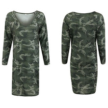 Load image into Gallery viewer, Deep V Neck Camouflage Printed Long Sleeve Casual Dress