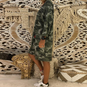 Deep V Neck Camouflage Printed Long Sleeve Casual Dress