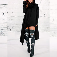 Load image into Gallery viewer, Hooded Loose Long Sleeve Plain Asymmetrical Hem Fashion Hoodies