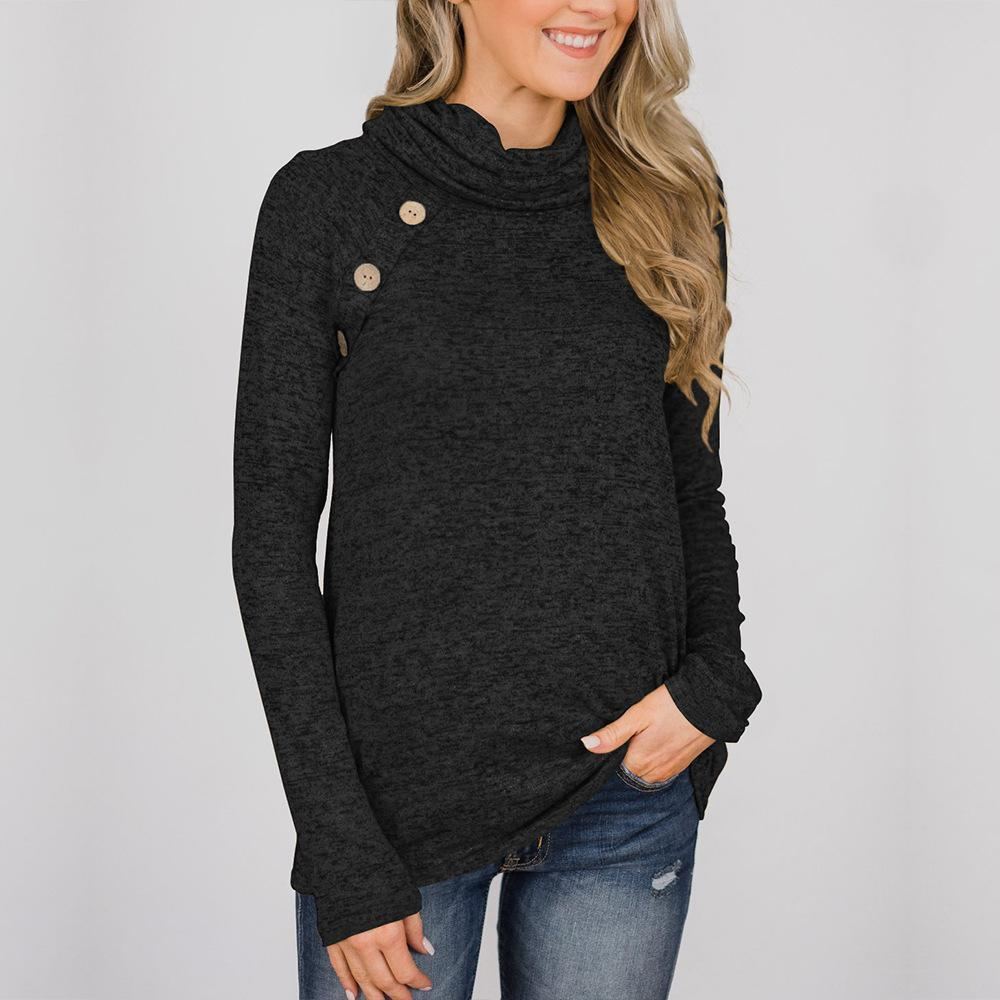 Solid Color Button High Collar Sweatershirt