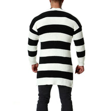 Load image into Gallery viewer, Long Section Black And White Striped Sweater
