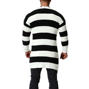 Long Section Black And White Striped Sweater