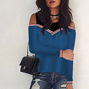 Fashion Fake Two-Piece Color   Matching Pullover