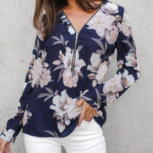 Load image into Gallery viewer, Sexy Flower Print Zipper V-Neck Long-Sleeved Blouse