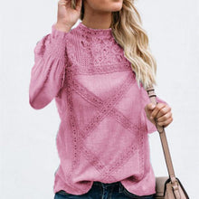 Load image into Gallery viewer, Fashion Lace Geometric Stitching Long Sleeve Blouse