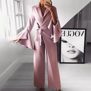 Flared Sleeve Elegant Jumpsuit   In Solid Color