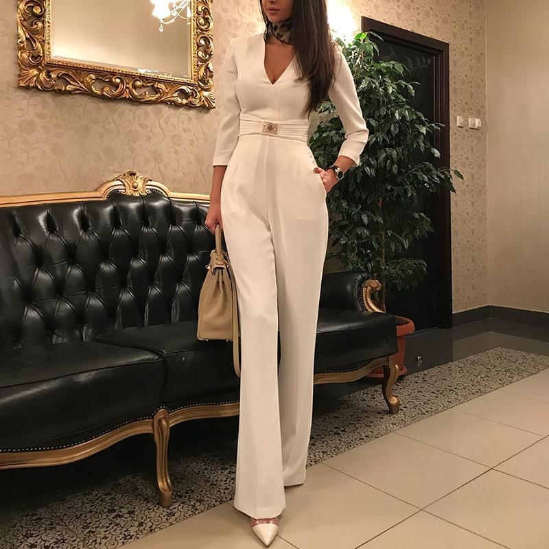 Long Sleeve White Elegant   Jumpsuit