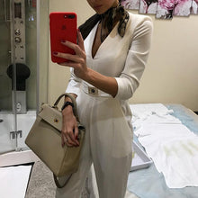 Load image into Gallery viewer, Long Sleeve White Elegant   Jumpsuit