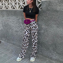 Load image into Gallery viewer, Leopard Print High-Waisted   Casual Wide-Leg Pants