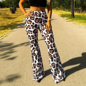 Leopard Print High-Waisted   Casual Wide-Leg Pants