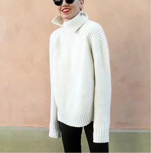 High Collar Solid Color Versatile Long Knit Sweater