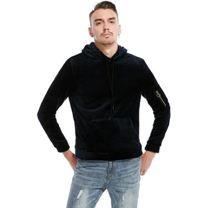 Fashion Plain Slim Zipper Packets Hoodie With Hat