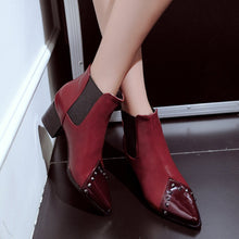 Load image into Gallery viewer, Fashion Studded Pointed Lacquered Color Stitching Boots