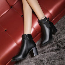 Load image into Gallery viewer, New High-Heeled Belt Buckle Low-Tube Martin Boots