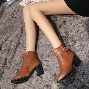 New High-Heeled Belt Buckle Low-Tube Martin Boots