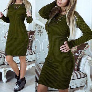 Knitted Lace Up Neck Bodycon Dress