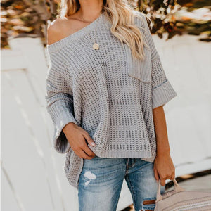 Thick Needle Drop Shoulder Loose Long Sleeve Sweater Sweater