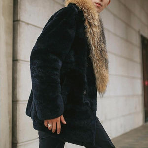 Large Fur Collar  Coat