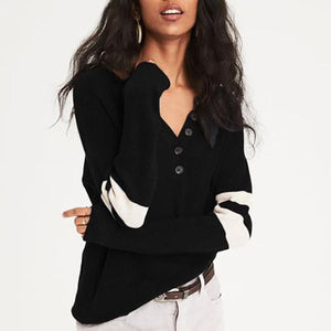 V-Neck Loose Button Decorative Stitching Long-Sleeved Knit Sweater