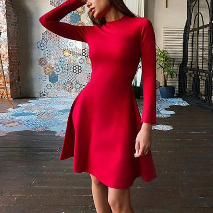 Red And Black Long Sleeve Skinny Dress Elegant Mini Dress