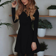Load image into Gallery viewer, Red And Black Long Sleeve Skinny Dress Elegant Mini Dress